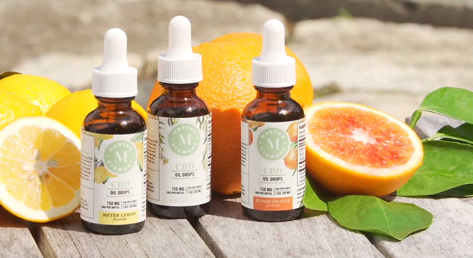 This image shows Martha Stewart new CBD oil drops Blood Orange, Neutral, and Meyer Lemon flavors.