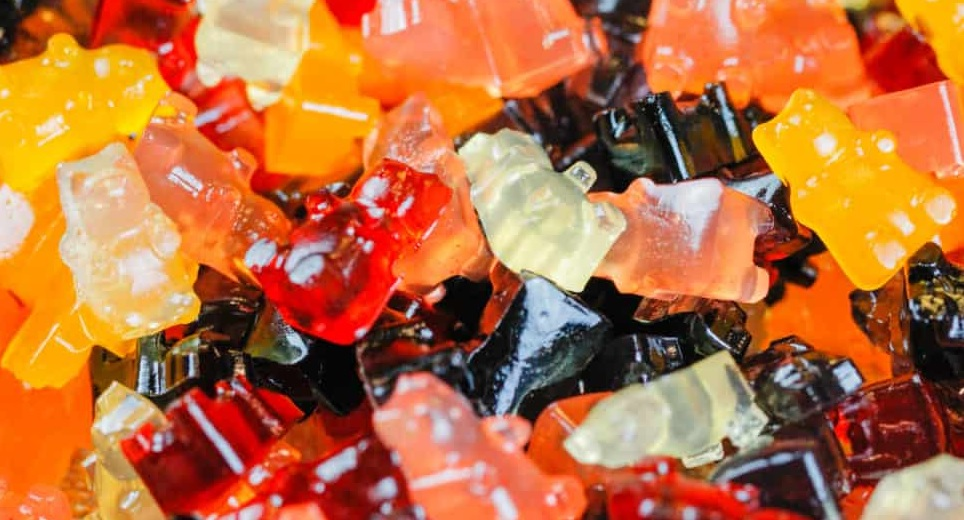 This image depicts CBD gummies as gummy bears.