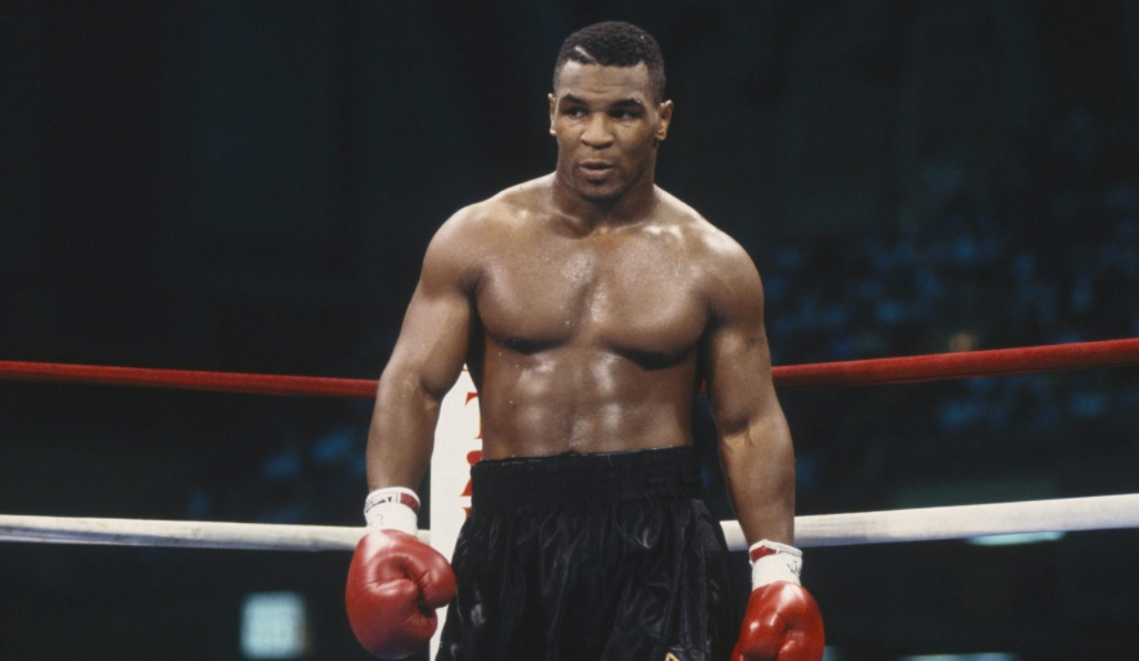 This image depicts Mike Tyson after a boxing match.