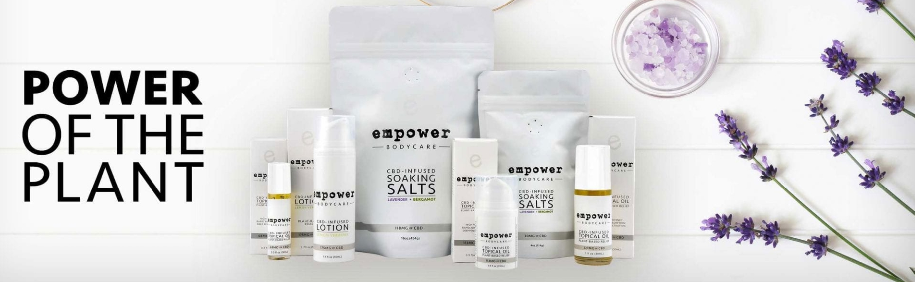 This image depicts Empower BodyCare with their line up of products
